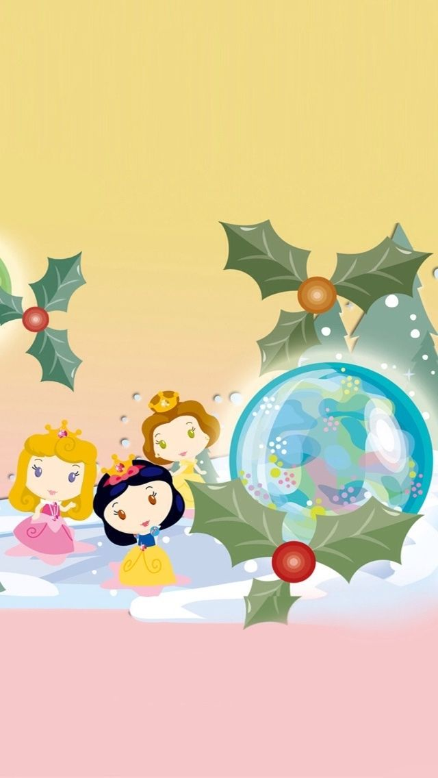 christmas disney princess iphone wallpaper background