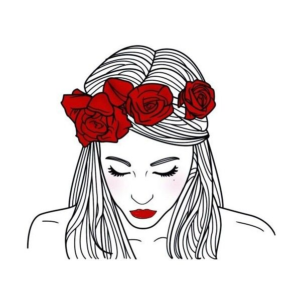 Art girl drawing We Heart It found on Polyvore featuring fillers, drawings, art, doodles, red, outline, scribble, saying, quotes en phrase