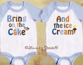Twin Boys Birthday Shirts Lite Blue Raglan Sleeve Onesie by Mumsy Goose 6M -24M Great 1st Birthday. $31.00, via Etsy.