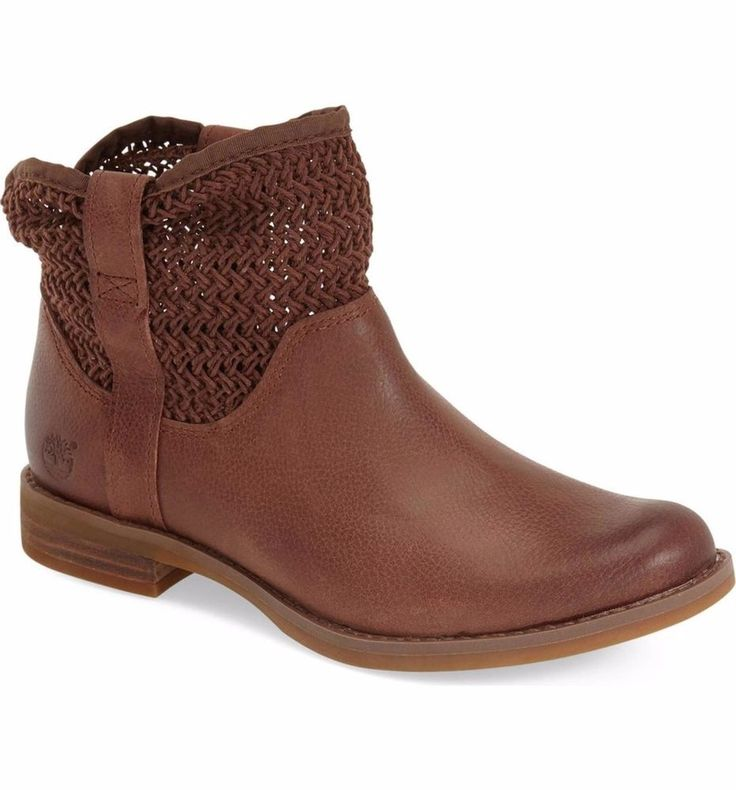 TIMBERLAND SALE Savin Hill Open Weave Ankle Brown Leather Boots Booties 6.5 M #Timberland #AnkleBoots