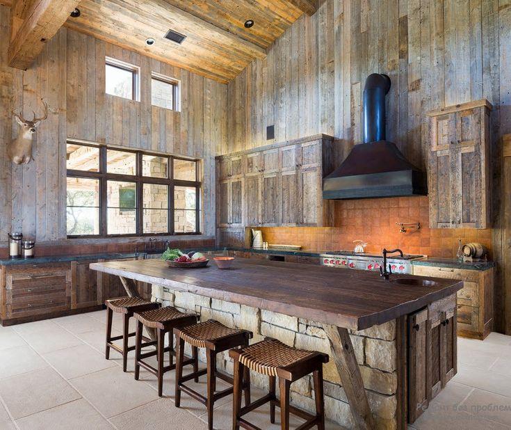 Камень в интерьере деревянного кухни