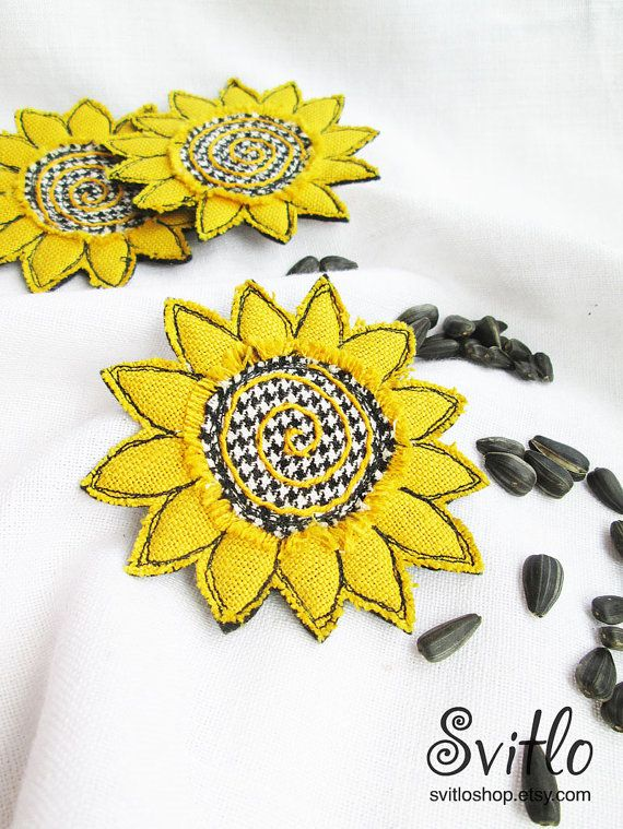 Brooch Sunflower Textile Art   Linen Brooch   Textile Brooch   Yellow Flower   Yellow, black and White   Summer Colors   Textile Jewelry