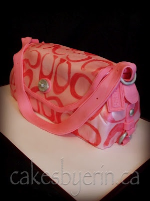 Cakes by Erin: Pink Coach Purse Cake, so cute. I can not wait to see what she does with my wedding cake