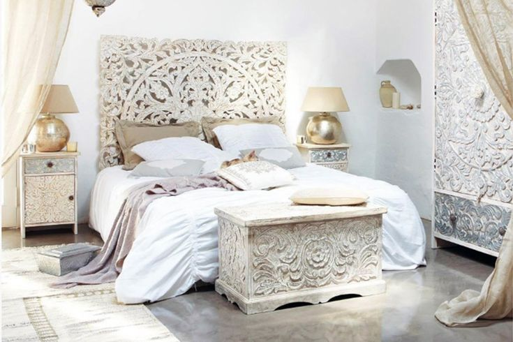 Indian Headboard White Carved Mango 59 215 79 Quot By Casa