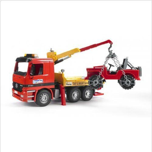 Bruder Action Vehicle Tow Truck carrying Jeep with Crane and Accessories by Bruder. $64.98. Made Of Tough Durable Plastics. Special Edition with MB Actros drivers cab. Professional Series. German made. Bruder MAN TGA Tow Truck with Cross Country Vehicle. The Bruder Toy MAN TGA Tow Truck with cross country vehicle will be there when you need some roadside assistance? This tow truck has a cab that tilts forward for kids to view the engine, a telescopic crane that swivels, f...
