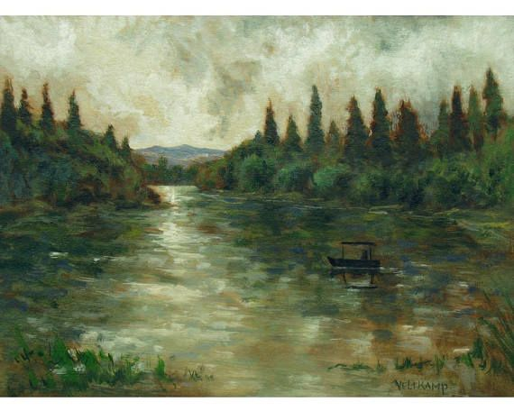 oil painting // little boat on lake // artistic work of art //