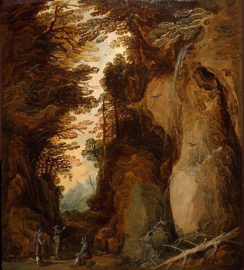 Joos de Momper the Younger (1564 - 1635). Скалистый пейзаж с тремя отдыхающими путниками возле водопада 1630