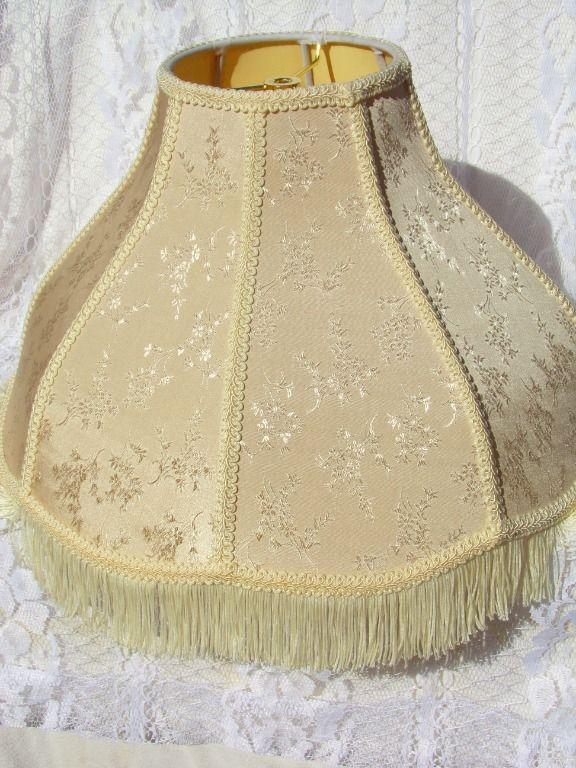 Large Vintage Victorian Brocade Lamp Shade Fringe Small