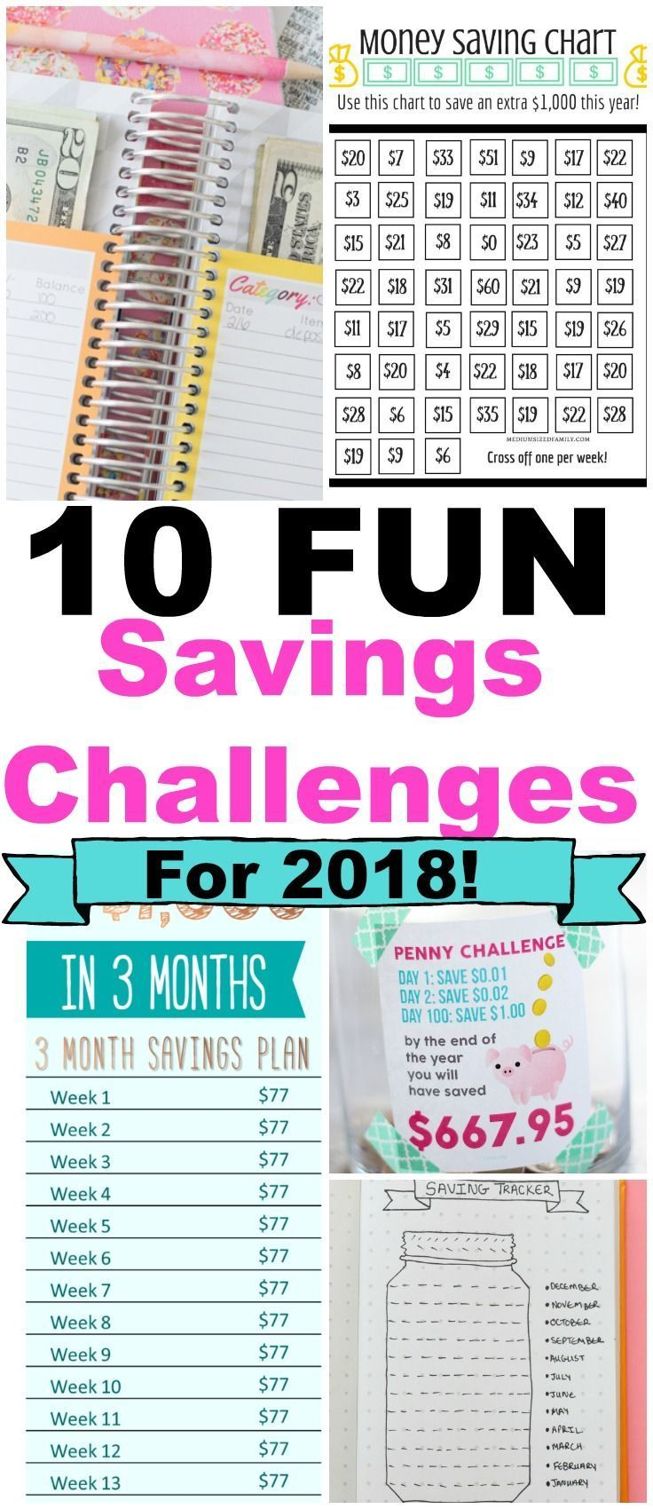 10 Game Changing and FUN money challenges for 2018! Easy ways to save money  and