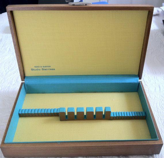 Great COOL storage (maybe for an Art Show)  Vintage Mid Century Modern Retro Flatware Storage Box Wooden Studio Stainless silverware