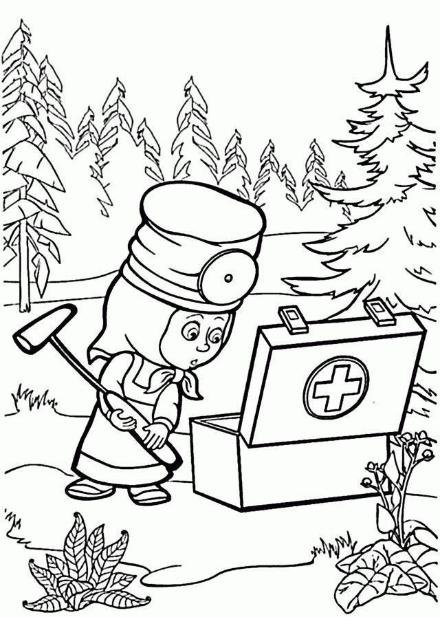 Kolorowanki z bajki Masza i Niedźwiedź dla dzieci do wydruku