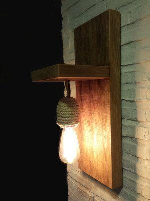 Lámpara rústica de madera maciza y cuerda   CraftAndDeco.com