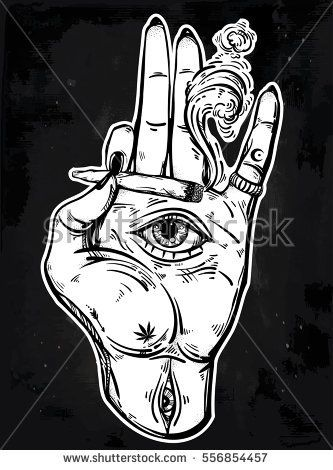 Human hand holding a weed joint or spliff or a cigarette with an all seeing eye. Drug consumption, marijuana use clip art. Concept design. Drug trip tattoo artwork. Isolated vector illustration.