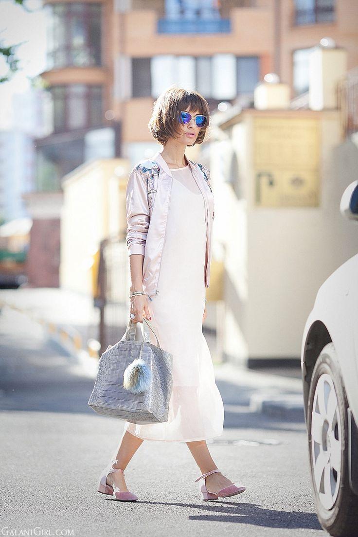 Street style, nude colors, summer outfits, стрит стайл, луки, стиль, летняя мода, furla bag, satin bomber jacket, Ellena galant girl,