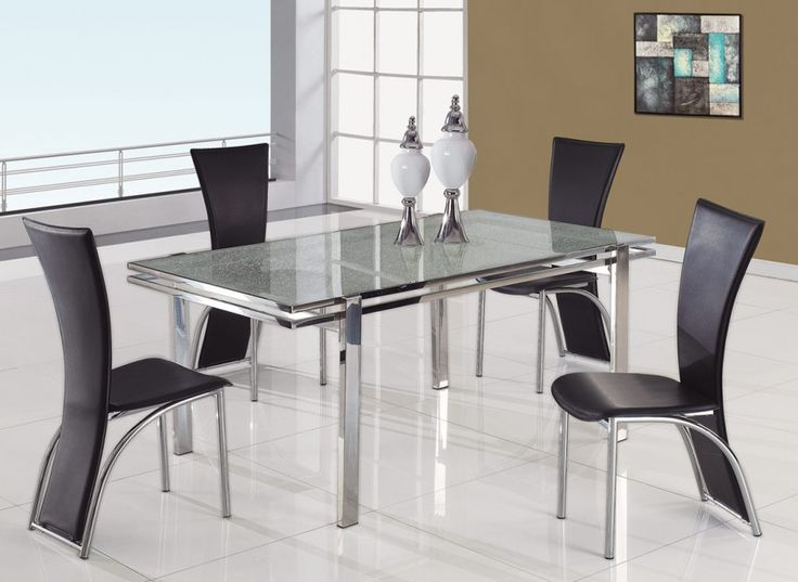 Dining Room. Dining RCool Modern Dining Table With Square Glass Material  With Layer Plus Black