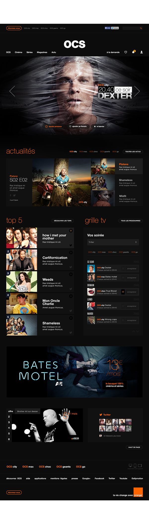 Orange Cinéma Séries by Florian Lefauconnier, via Behance #ui #ux #web #interface