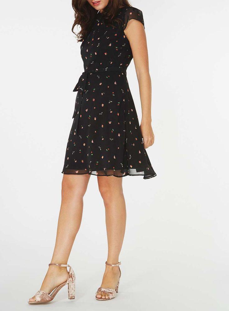 Womens **Billie & Blossom Bee and Strawberry Dress- Black