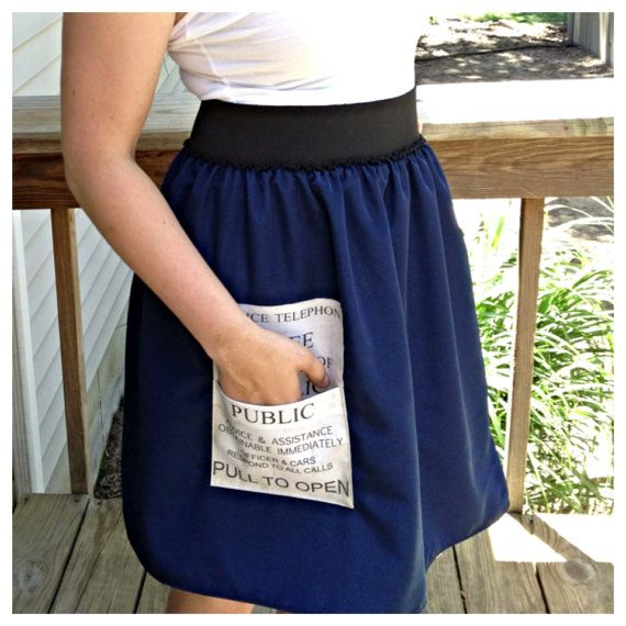 "TARDIS skirt. Simple gathered navy skirt with black waistband and TARDIS ""pull to open"" panel as a patch pocket - genious, and would be ever so simple to make"