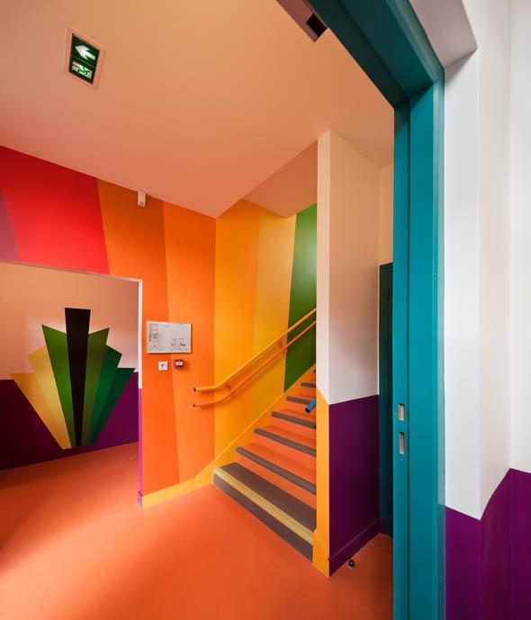 Colourful French School In Paris Fun Spaces Art Children Bright