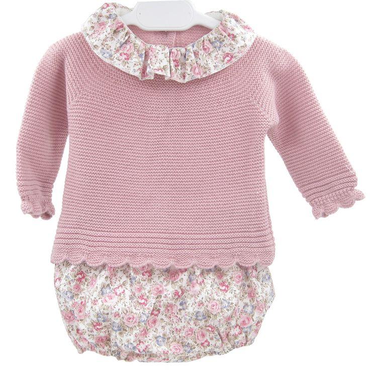 Conjunto jersey lana y cubrepañal flores XX
