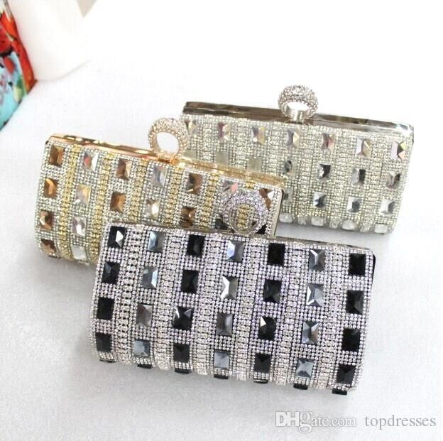 Luxurious Bling Bridal Handbags Evening Bag Silver Floral Party Prom Gold Black Cheap Free Shipping MYF77