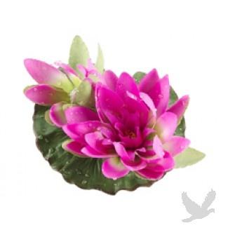 Floating Lotus w/Waterdrop 1 Flw. & 1 Bud - Fuchsia (Bulk 12 Lotus)