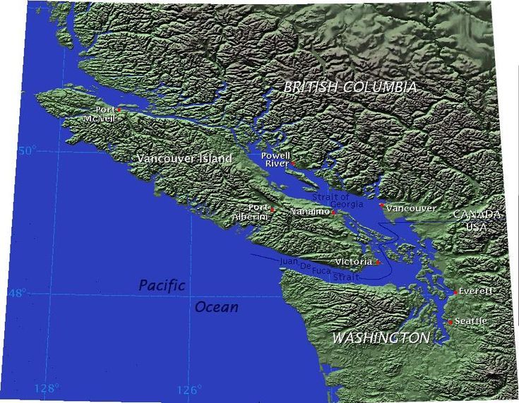 Vancouver-island-relief - Vancouver Island is separated from mainland British Columbia by the Strait of Georgia and Queen Charlotte Strait, and from Washington by the Juan De Fuca Strait.