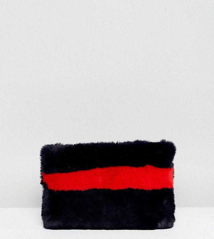 My Accessories Faux Fur Navy & Orange Stripe Clutch Bag - Navy