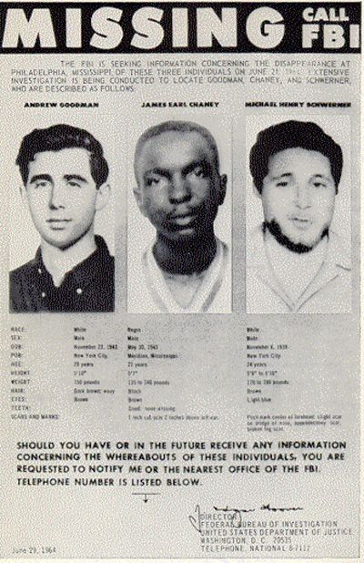 """""""No single racial community can effect change by itself. Street violence won't end by equipping the police with cameras and teaching them new techniques for working in high crime areas. The power of collective memory is such that it requires new and creative ways to narrow the divide between black and white communities."""" Image: FBI Poster of Missing Civil Rights Workers Public domain via Wikimedia Commons"""