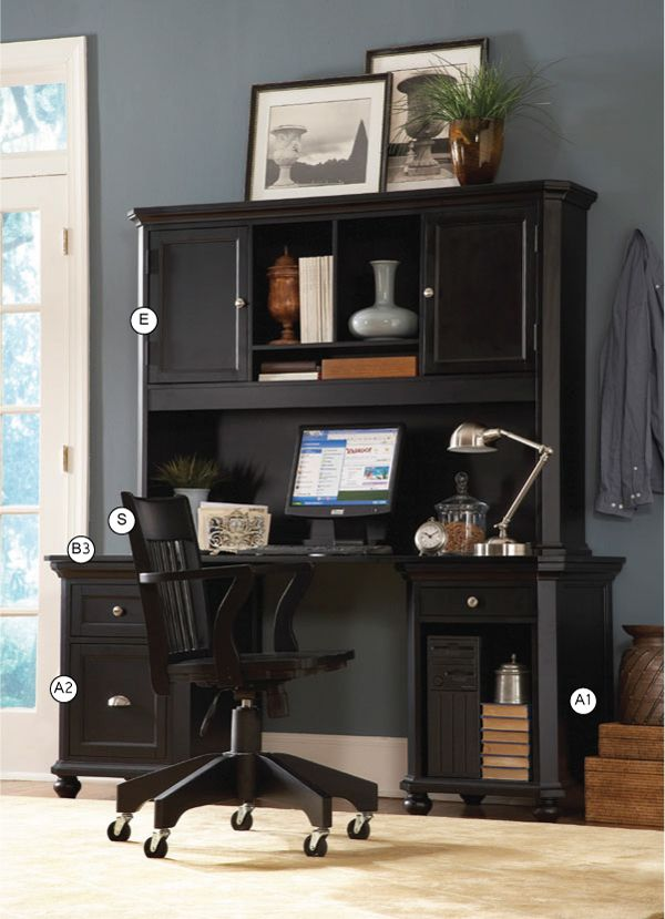 black double pedestal executive desk with hutch included find this pin and more on black furniture by leoscleo home elegance computer