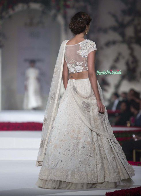 Top Pick Ivory floral lehenga with floral threadwork, pearls and beads detailing - with floral applique blouse back angle 3 - Varun Bahl - Amazon India Couture Week 2015