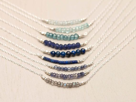 Sterling Silver or Gold Fill Delicate Gemstone Necklace. The dainty chain suspends a bar of gorgeous little gemstones. The Gemstone Bar can be