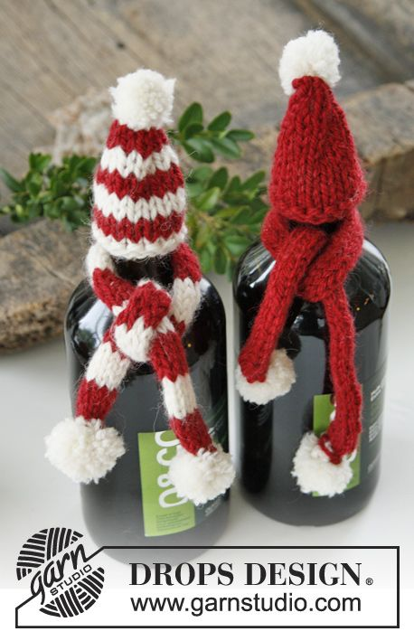 "DROPS Christmas: Knitted DROPS hat and scarf for bottle in ""Nepal"". ~ DROPS Design"