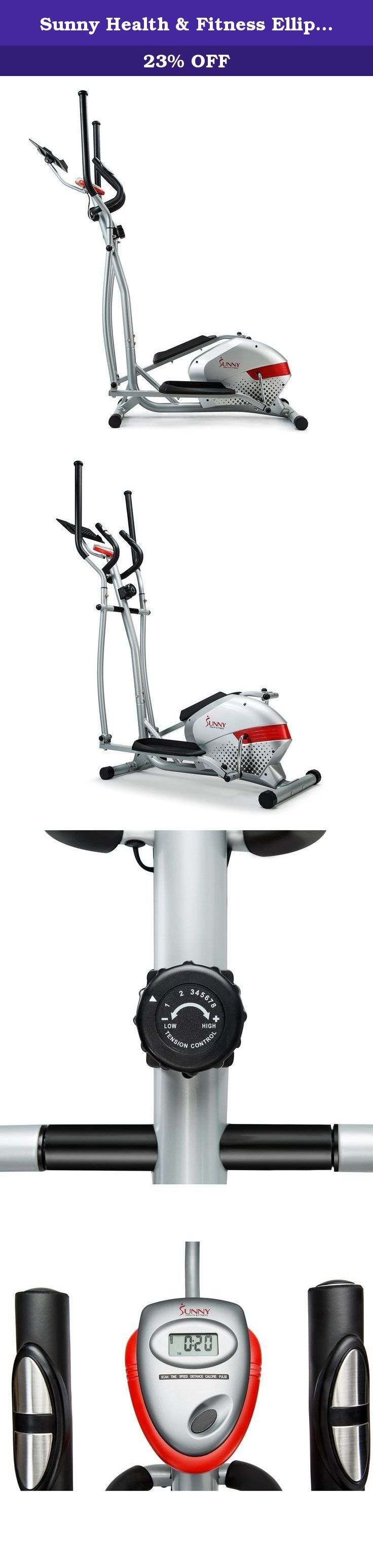 Sunny Health & Fitness Elliptical Trainer with Tablet Holder, Grey. The Elliptical Trainer with tablet holder by Sunny Health & Fitness brings the same premium quality of a fitness Club Elliptical into the comfort of your own home! made of top grade steel construction, this Elliptical is built to last and carries various features to help provide a more enjoyable workout session. The LCD console keeps track of your time, speed, distance, calories burned and pulse while the newly installed...