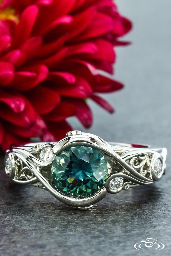 Montana Sapphire and Diamond Filigree Engagement Ring. Green Lake Jewelry