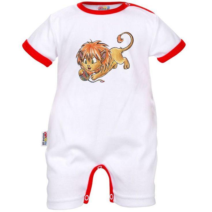 Barboteuse bébé signe du Zodiaque : LION (blanc)