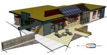 Une maison de constructeurNom : Maison Trecobat. Decriptif : Murs surisolés en pierre ponce, chauffage par panneaux solaires et PAC, panneaux photovoltaïques, toiture végétalisée. Surface : 132 m². Prix : 207 959 € HT
