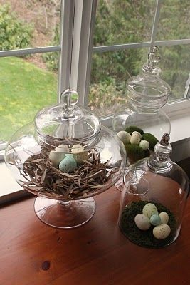 easter decor - instead of candy in the apothecary jars