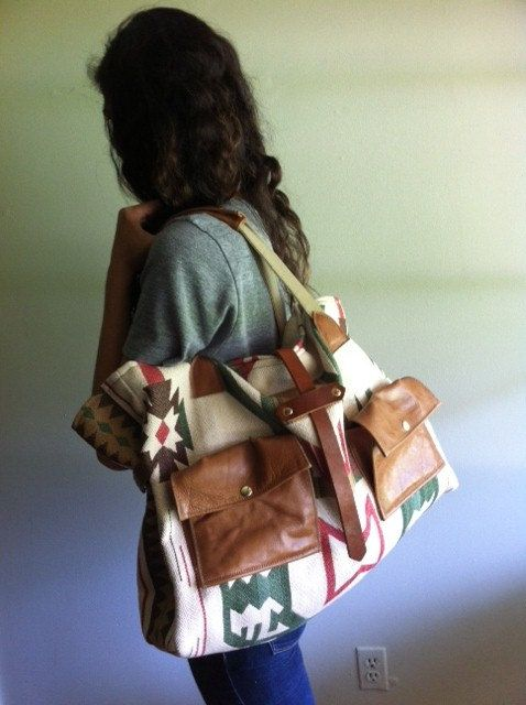 T R A V E L collection Aztec print oversized bag by ArrowsDesign, $175.00