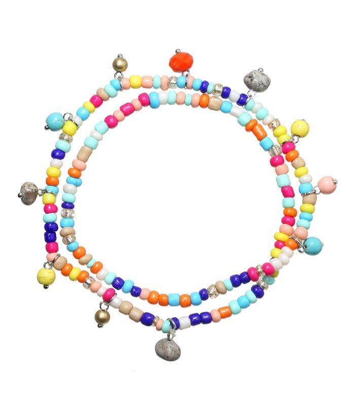 Gekleurde enkelbandje met kralen en stenen|Mooie enkelbandjes koop je online|Snelle verzending | Yehwang fashion en sieraden