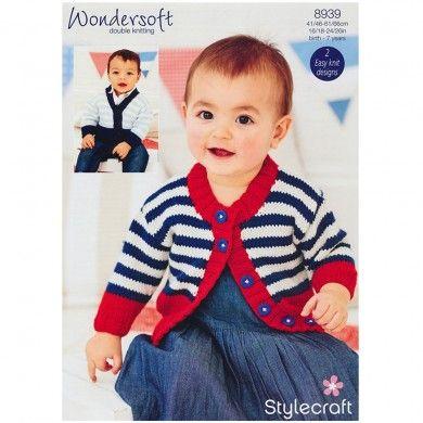 Unisex Baby Cardigans in Stylecraft Wondersoft DK - 8939