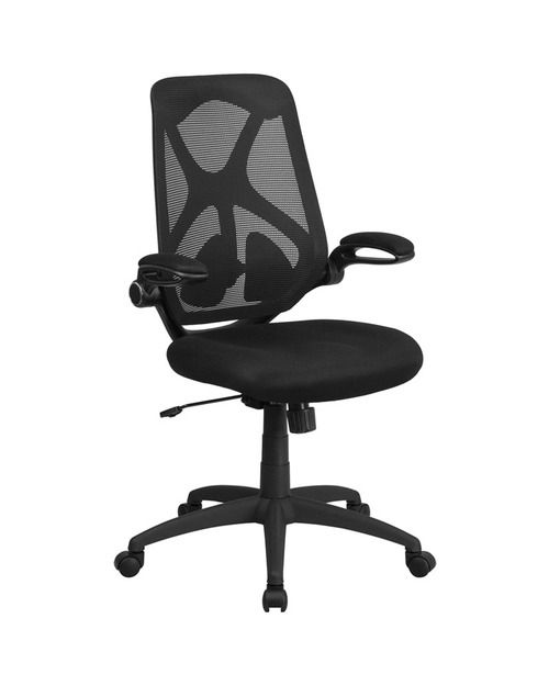 Flash Furniture High Back Black Mesh Executive Swivel Office Chair with Mesh Padded Seat, Adjustable Lumbar, 2-Paddle Control and Flip-Up Arms