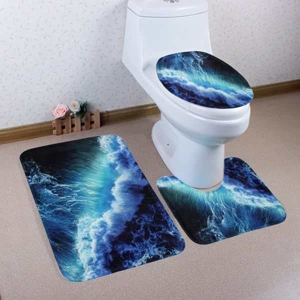 Coral Fleece 3 Pieces Sea Surge Bathroom Mats Set - DEEP BLUE