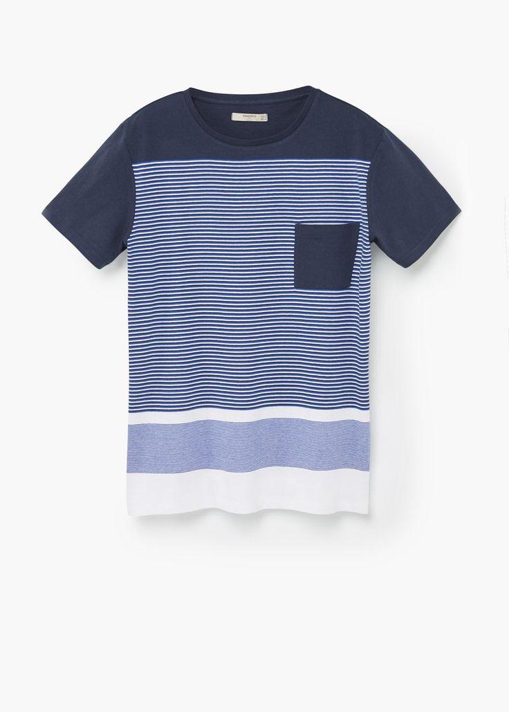 Camiseta algodón rayas | MANGO MAN