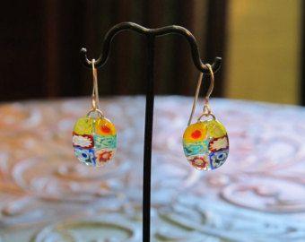 Millefiori Fused Glass Earrings 1059 by paintedlightglass on Etsy