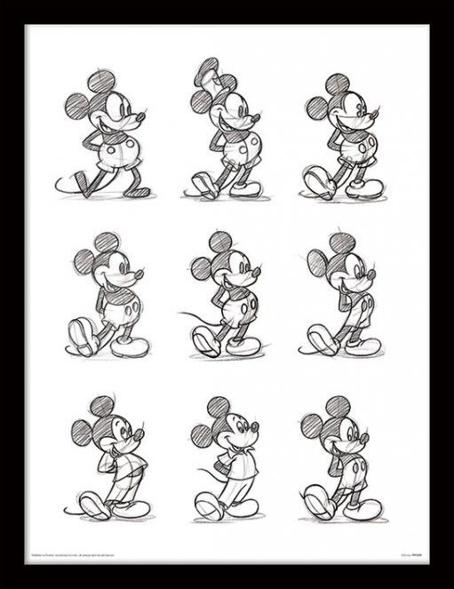 Disney Mickey Mouse Multi Sketch - Framed