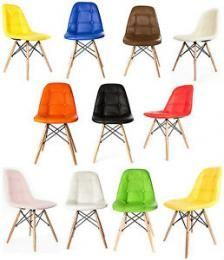 Arizona Sieno Lena derma  Καρέκλα κουζίνας ξύλινα πόδια - δερματίνη  ( Μάυρο ,κόκκινο, λευκό ,κίτρινο ,πράσινο) ρέπλικα σχέδιο Charles & Ray Eames