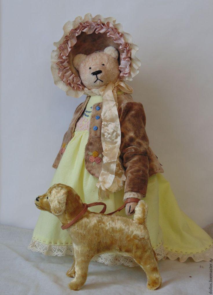 Купить Дама с собачкой - лимонный, мишка, тедди, винтаж, коллекционный мишка, розовый, собачка