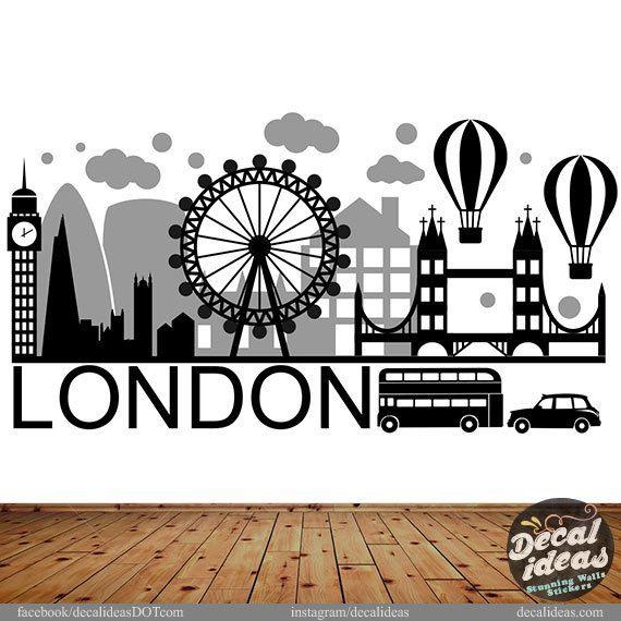 London Wall Decal - London City Wall Sticker - London Wall Art - City Skyline - London City Wall Decal - London Skyline Wall Decal