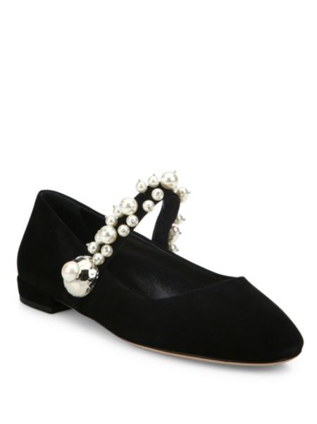 Miu Miu - Pearl Bead Strap Suede Mary Jane Flats